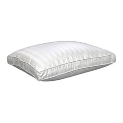None - Damask Stripe 350 Thread Count Softie Around Density Pillow - This three-compartment down alternative pillow features three levels of firmness in one exceptionally comfortable pillow. Its center chamber is filled with the softness of small feathers, while its top and bottom are filled with firm polyester.