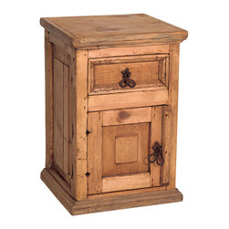 Country Rustic Pine Nightstand - One of our best selling small Mexican rustic pine nightstands with beautiful hand forged iron drawer pulls.  This small rustic pine furniture nightstand is a Tres Amigos Furniture exclusive.  Matching Mexican Furniture pieces are available for every room in your home.