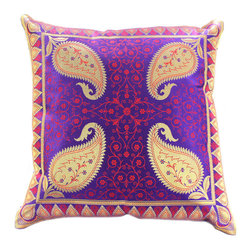 "Banarsi Designs - Electric Leaf Pillow Cover, Set of 2, Golden Plum - Discover our shimmering and unique ""Electric Leaf Pillow Cover"" from Banarsi Designs."