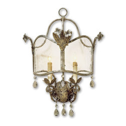 Currey and Company - Zara Wall Sconce - An unusual historical design from the Winterthur Museum?s Archive Collection is made outstanding with its opulent finish of Viejo Gold and Silver, smoked crystals and its seeded glass panels. Wall sconces are sold as pin-ups which allows them to be either hardwired or plugged in.