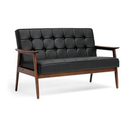 Baxton Studio - Baxton Studio Stratham Black Mid-Century Modern Sofa - Make overly-stuffed sofas with a distinct lack of style a thing of the past when you,come the Stratham Mid-Century Modern Sofa into your home.  We're confident you,l agree that the beautiful, dark-stained wood frame adds a high level of character to this contemporary living room furniture piece.  The black faux leather seat is not only a contrast to the frame, but also packs a punch with great button-tufted detailing and comfortable foam cushioning.  The Chinese-made Sofa's fully assembled and should be wiped clean with a damp cloth.  A matching black Stratham Club chair's available as is a white version of both pieces (each sold separately). seat'sions: 48.5 inches wide x 19.5 inches deep x 17.5 inches highDimensions: 53.63 inches wide x 29.25 inches deep x 33 inches high, seat height:17.5""