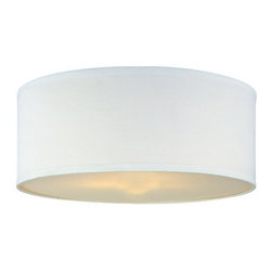Design Classics Lighting - White Linen Drum Lamp Shade with Spider Assembly - SH7566DIF - This lamp shade is a mix of style and functionality. Its white linen fabric with trimming around the top and bottom edges lends it a stylish look while the spider-assembled structure makes it work with an adjustable harp. The bottom diffuser and the opaque natural linen fabric soften the light, producing a delicate glow in your room. This drum-shaped shade fits flush and semiflushmount light fixtures. Manufactured by Design Classics Lighting, this shade is measured as 18-inch wide top, 18-inch wide bottom, and 7-inch slope. Dry location rated.