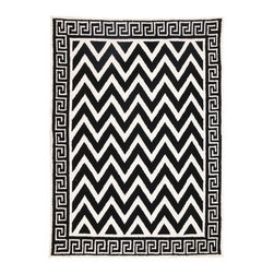 DL Rhein - DL Rhein Black Melrose Hook Rug - Designer DL Rhein masterfully mixes iconic patterns on the Melrose hook rug, a bold black and white accent. Classic Greek Key forms a border around zig zagging chevron on this contemporary handcrafted floor covering. 100% wool with cotton canvas backing; Rug pad recommended (not included)