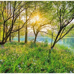 """Spring Lake Wall Mural Wall Mural - Spring is in the air with this enchanting wall mural of a captivating lake scene. A luscious green landscape full of brilliant wildflowers creates a gorgeous backdrop on any wall. This peel and stick panel stands at 12'1"""" x 8'4""""."""
