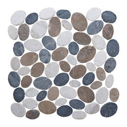 Pebble Tile - Coin Mosaic Tile, Tan White & Grey Blend, 12 in. X 12 in. - The coins mosaic tile are made up of stones that are carefully cut and laid on mesh to create a 12x12 in. interlocking square. Each stone is a varying oval shape to create a pebble like appearance with a uniformed look. The coins mosaic tile is our most unique product and allow for a seamless attractive finish to any project. The versatility of this product is endless and with the variety of the shades and blends within the group you can create a wonderfully unique addition to your home, office or exterior area.
