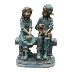 Alpine - Girl and Boy Sitting on Bench with Puppy Statue - Features: