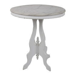 Pre-owned Vintage Marble Top Side Table - This charming vintage side table comes to life with movement in the veining of the carrara marble top and evidence of use with the distress of the white-painted solid wood base.
