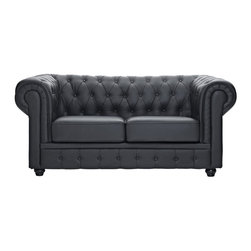Modway - Chesterfield Loveseat in Black - There is something very recognizable about the Chesterfield Armchair. While fashioned with a tufted back, and large rounded arms, the most distinctive aspect is arguably the deep buttons. Their careful positioning throughout helps portray both an aristocratic and settled feel at the same time. First named in 1900 after the Earl of Chesterfield who commissioned it, recognize the ability to join individual elements as you completely inspire your room.