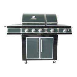 Master Forge Green 3-Burner Liquid Propane/Natural Gas Grill With Side Burner - I could totally see myself using this gorgeous grill. It's perfect for summer barbecues.