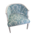 Upholstery Projects - Vintage Barrel Back Chair Upholstered in Blue Paisley print.