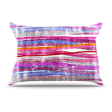 """Kess InHouse - Frederic Levy-Hadida """"Fancy Stripes Pink"""" Pillow Case, Standard (30"""" x 20"""") - This pillowcase, is just as bunny soft as the Kess InHouse duvet. It's made of microfiber velvety fleece. This machine washable fleece pillow case is the perfect accent to any duvet. Be your Bed's Curator."""