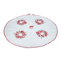 Xia Home Fashions - Handmade Holiday Berry Wreath Ribbon/Pom Pom Double Layer Round Tree Skirt, 48x4 - A whimsical Christmas wreath rendered in ribbon embroidery and red pom-pom berries adorns this magical holiday linens collection! Machine wash cold water, no bleach, lay flat to dry. Light iron as needed.