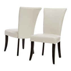 Great Deal Furniture - Monroe Leather Dining Chairs (Set of 2), Ivory - Our Monroe Dining Chairs are the perfect upgrade to your existing dining table. Built of strong hardwood, these comfortable chairs are well padded and covered in soft brown bonded leather. These unique dining chairs feature a tufted back design, complimenting your dining rooms existing decor.