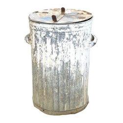 Pre-owned Vintage Trash Bin with Hinged Lid - Vintage trash can with painted details and hinged lid.  Very NYC street chic!