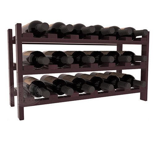 18 Bottle Stackable Wine Rack in Redwood with Burgundy Stain + Satin Finish - Expansion to the next level! Stack these 18 bottle kits as high as the ceiling or place a single one on a counter top. Designed with emphasis on function and flexibility, these DIY wine racks are perfect for young collections and expert connoisseurs.