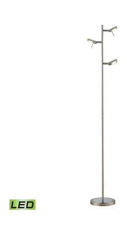 Elk Lighting - Elk Lighting 54015/3 Reilly Modern Floor lamp in Brushed Nickel/Brushed Aluminum - Elk Lighting 54015/3 Reilly Modern Floor lamp in Brushed Nickel/Brushed Aluminum