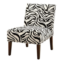 """ACMACM59152 - Aberly Ii Collection Zebra Print with Tapered Legs Fabric Accent Side Chair - Aberly II collection zebra print with tapered legs fabric upholstered accent side chair. Measures 30"""" x 22"""" x 33"""" H. Some assembly required."""