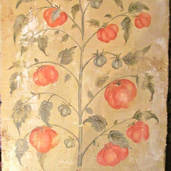 Faux antique botanical panels - Distressed painted antique look botanical panel, on cement board for wall hanging.
