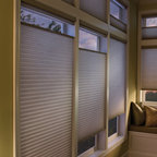 Cellular Shades with Top Down Bottom Up In Master Bedroom - Two Blind Guys - Top Down Bottom Up is honeycombs are available with Applause® Honeycomb Shades. This allows you to lower the shades from the top down, as well as raise the shade from the bottom up. Great for rooms where you want some privacy but still want natural light to come in - Bathrooms, laundry rooms, kitchens, etc.