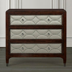 Cosmopolitan Decorative Chest by Bassett Furniture - 3 Drawers with ash fabric inserts and black nickel nail head trim.