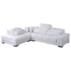 Modern Sectional Sofas Rodeo White Top Grain Leather Sectional Sofa With Adjustable Headrests