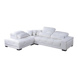 VIG Furniture - Rodeo White Top Grain Leather Sectional Sofa With Adjustable Headrests - The Rodeo sectional sofa is a great choice for any living room that needs a touch of modern design. This sectional sofa comes upholstered in a beautiful white top grain leather in the front where your body touches. Skillfully chosen match material is used on the back and sides where contact is minimal. High density foam is placed within the cushions for added comfort. Only solid wood products were used when crafting the frame making it very durable. This sectional features adjustable headrests for that extra touch of relaxation.