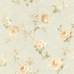 Mirage - Cora Light Blue Floral Damask Wallpaper - Give your room a delicate floral pattern that is durable and practical as well, with this lovely light blue damask design. This prepasted wallpaper is both elegant and practical: A roll includes 56.38 square feet of scrubbable, easy to remove solid sheet vinyl.