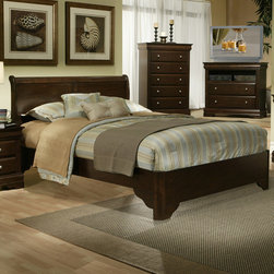 "Alpine Furniture - Chesapeake Sleigh Bed - Features: -Rubberwood solids with select veneer.-Box spring required.-Number of Slats Included: 3.-Distressed: No.-Collection: Chesapeake.-Weight Capacity: 600 lbs.Dimensions: -Full size dimensions: 46.75"" H x 56.5"" W x 80.25"" D, 89 lbs.-Queen size dimensions: 46.75"" H x 63.5"" W x 86.5"" D, 99 lbs.-King size dimensions: 46.75"" H x 80.25"" W x 86.5"" D, 116 lbs.-California King size dimensions: 46.75' H x 74.5"" W x 90.25"" D, 113 lbs.-Headboard Width Side to Side: 68"".-Base of Headboard to Floor: 10"".Warranty: -6 Months manufacturer's warranty."