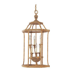 Seagull - Seagull Fairmont Cage Pendant Light in Golden Isles - Shown in picture: CLOSEOUT SPECIAL - Six Light Two-Tier Hall/Foyer in Golden Isles Finish