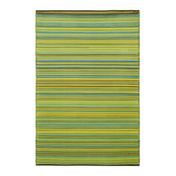Fab Habitat - Cancun Lemon & Apple Green (2' x 3') - There's something about this brilliant rug that satisfies the eyes, much like a glass of lemonade or a bite out of a green apple can quench your thirst. It's most likely the compilation of vibrant stripes that creates such refreshing visual appeal … Ahh!