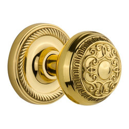 Nostalgic - Nostalgic Privacy-Rope Rose-Egg and Dart Knob-Polished Brass (NW-702553) - Rope Rose with Egg and Dart Knob - Privacy