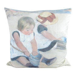 Poetic Pillow - Mary Cassatt Children Playing at the Beach Pillow - Transform any space with a pillow from Poetic Pillow. Each pillow is inspired by fine works of art and printed on the front and back.   Covers are made of pre-shrunk satin-like polyester fabric. All seams are finished to prevent fraying and pillow covers have a knife edge finish.. A concealed zipper allows for ease of inputting pillow inserts.  A duck feather insert is included for soft yet supportive feel.  Cushion inserts are encased in a cotton cover and filled with 100% duck feather.  All research, design and packaging is completed in Oakland, California.