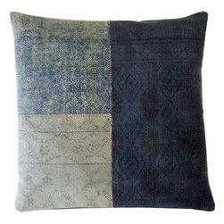 JITI - Multi Blue Art Pillow - Mix and match your patterns with this throw pillow. Three faded fabrics look like a cool quilt — perfect for someone who craves tradition yet longs for a hip living room.