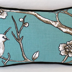 Fireplace Seating - I first used this this gorgeous Robert Allen fabric to make roman shades and, quite honestly, I couldn't get these birds out of my head!  I love how the black piping grounds the teal and lets the white of the birds really stand out.
