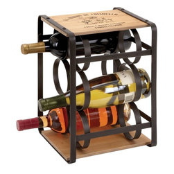 """Benzara - Wine Holder in Brown Colored Metal Frame - The metal wood wine holder is an apt gift to be given to an avid drinker. It is designed with brown colored metal frame and two wooden planks at the top and bottom. Ideal to hold six bottles of wine, this wine holder comes with evenly placed circular rings of metal for convenient storage. The wine holder is durable as well as strong enough to bear the weight of six wine bottles. This wine holder not only renders great ambience to your room but also helps in storing the wine or keep the wine handy on the counter.; Brown colored metal frame; Holds six bottles of wine; Evenly placed circular rings of metal; Fusion of metal and wood; Weight: 4.85 lbs; Dimensions:10""""W x 9""""D x 13""""H"""