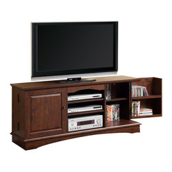 "Walker Edison - Walker Edison 60 Inch Media Storage Wood TV Console in Brown - Walker Edison - TV Stands - WQ60C73TB - Elegance and function combine to give this contemporary wood TV console a striking appearance. The design gives a stylish modern look crafted with durable laminate and MDF board. Console will accommodate most flat-screen TVs up to 65"" with three levels of center shelving to provide ample space for A/V components. The interior doors hold approximately 180 DVDs Blu-ray discs or other media. Features:"