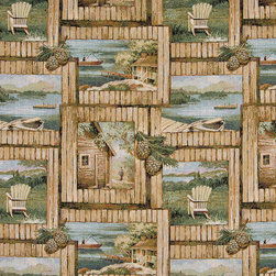 Cabin Fishing Boat Chair Acorns Themed Tapestry Upholstery Fabric By The Yard - P0210 is an upholstery grade tapestry novelty fabric. This fabric is excellent for cabins, lodges, homes and commercial uses.