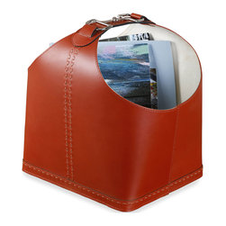 Kathy Kuo Home - Josette Equestrian Leather Rustic Magazine Holder - With equestrian leather and buckle details, this vermillion red magazine holder has a distinctly French accent and irresistible modern attitude. Keep clutter at bay in style with this great piece.