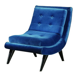 Armen Living - Armen Living 5th Avenue Armless Swayback Lounge Chair in Cerulean Blue - Armen Living - Club Chairs - LC281FABL - Birchwood framed lounge chair covered in a rich cerulean blue fabric. Designed for relaxation. Armen Living is the quintessential modern-day furniture designer and manufacturer. With flexibility and speed to market Armen Living exceeds the customer�s expectations at every level of interaction. Armen Living not only delivers sensational products of exceptional quality but also offers extraordinarily powerful reliability and capability only limited by the imagination. Our client relationships are fully supported and sustained by a stellar name legendary history and enduring reputation. The groundbreaking new Armen Living line represents a refreshingly innovative creative collaboration with top designers in the home furnishings industry. The result is a uniquely modern collection gorgeously enhanced by sophisticated retro aesthetics. Armen Living celebrates bold individuality vibrant youthfulness sensual refinement and expert craftsmanship at fiscally sensible price points. Each piece conveys pleasure and exudes self expression while resonating with the contemporary chic lifestyle.