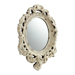 Cyan Design - Cyan Design Ornate Illusions Traditional Framed Wall Mirror X-35160 - This Cyan Design wall mirror features a beautiful oval shape complimented by an extravagant frame. The frame features beadwork, scalloped detailing and eye-catching flourishes, all complimented by a distressed Antique White finish that completes the look beautifully.