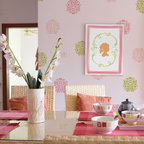Small Floral Stamp Bari J Stencil - Floral Stamp Bari J Wall Stencil (small) from Royal Design Studio Stencils. This happy, pink and green, hand painted pattern enlivens this breakfast nook.This stencil can also could be used on fabric, furniture and in nurseries, children's rooms and play rooms.