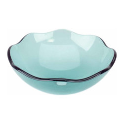 Renovators Supply - Vessel Sinks Green Glass Tourmaline Sink 8 Petal Vessel Sink | 12960 - Glass Vessel Sinks: Single Layer Tempered glass sinks are five times stronger than glass, 1/2 inch thick, withstand up to 350 F degrees, can resist moderate to high degrees of impact and are stain-proof. Ready to install this package includes FREE 100% solid brass chrome-plated pop-up drain, FREE machined 100% solid brass chrome-plated mounting ring and silicone gasket. Measures 16 3/4 inch diameter x 6 inch deep. x 1/2 inch thick.