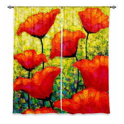 """DiaNoche Designs - Window Curtains Unlined - John Nolan Mischas Poppies - DiaNoche Designs works with artists from around the world to print their stunning works to many unique home decor items.  Purchasing window curtains just got easier and better! Create a designer look to any of your living spaces with our decorative and unique """"Unlined Window Curtains."""" Perfect for the living room, dining room or bedroom, these artistic curtains are an easy and inexpensive way to add color and style when decorating your home.  The art is printed to a polyester fabric that softly filters outside light and creates a privacy barrier.  Watch the art brighten in the sunlight!  Each package includes two easy-to-hang, 3 inch diameter pole-pocket curtain panels.  The width listed is the total measurement of the two panels.  Curtain rod sold separately. Easy care, machine wash cold, tumble dry low, iron low if needed.  Printed in the USA."""