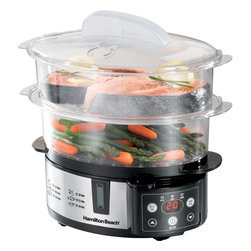Hamilton Beach - Digital Steamer - This Hamilton Beach Steamer is designed to give you cooking options as it has two tiers with a removable divider for large foods so it fits corn on the cob or a head of broccoli. It also steams delicate fish, lobster and shrimp and cooks eggs upright from soft-cooked to hard-boiled. The digital touchpad makes setting the countdown timer and other functions easy. Included is a rice bowl which is perfect for rice or other small foods. Stores nested.