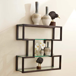 "Global Views - Global Views One Up Wall Shelf - Decorative objects appear to float on the glass shelves of Global Views' One Up wall unit, while its unique I-shaped metal frame offers an artful way to display frames, vases and more. 30""W x 9.75""D x 29.75""H; Metal; Hangs on metal wall cleat provided"