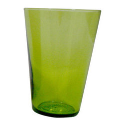 Eau Minerale Recycled Glass-Set of 4 - Handmade using recycled glass. Some variations in height and color may occur. This uniqueness reflects the individual artisans who create our product and the range of sizes and shapes are perfect for sipping your beverage of choice.