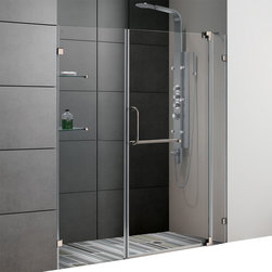 Vigo - 66in.  Frameless Shower Door 3/8in.  Clear Glass Brushed Nickel Hardware - Experience fine quality combined with superior design in a VIGO frameless shower door.