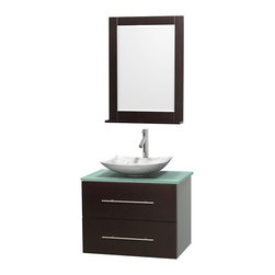 """Wyndham Collection - Centra 30"""" Espresso Single Vanity, Green Glass Top, White Carrera Marble Sink - Simplicity and elegance combine in the perfect lines of the Centra vanity by the Wyndham Collection. If cutting-edge contemporary design is your style then the Centra vanity is for you - modern, chic and built to last a lifetime. Available with green glass, pure white man-made stone, ivory marble or white carrera marble counters, with stunning vessel or undermount sink(s) and matching mirror(s). Featuring soft close door hinges, drawer glides, and meticulously finished with brushed chrome hardware. The attention to detail on this beautiful vanity is second to none."""