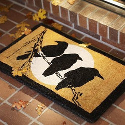 "Crow & Moon Coir Door Mat, 18 x 30"" - Welcome every ghost, goblin and guest, and protect your floors, with our eco-friendly mat. 30"" wide x 18"" deep Handwoven of earth-friendly coir, a durable fiber derived from coconut husks. Hand-printed design. Imported. Internet only."