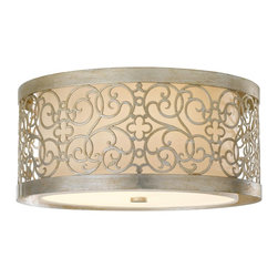 Murray Feiss - Murray Feiss Arabesque Flush Mount Ceiling Fixture in Silver Leaf Patina - Shown in picture: Arabesque Flushmount in Silver Leaf Patina finish with Ivory Linen'Fabric